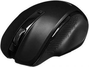 AmazonBasics Compact Ergonomic Wireless PC Mouse with Fast Scrolling - Black