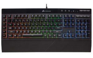 Corsair K55 RGB Gaming Keyboard - Quiet & Satisfying LED Backlit Keys - Media Controls - Wrist Rest Included - Onboard Macro Recording (Multi-Colored)