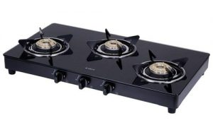 elica vetro glass top 3 burner gas stove 703 ct vetro blk