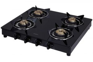 Elica Vetro Glass Top 4 Burner Gas Stove (594 CT VETRO BLK)