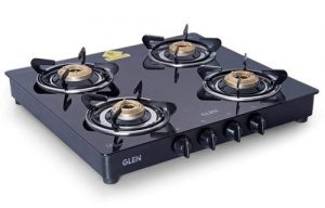 Glen 4 Burner Gas Stove with Brass Burner (CT4B55BLBB Cooktop, Black)
