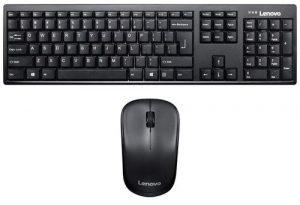 Lenovo 100 Wireless Keyboard & Mouse Combo, Ambidextrous 1000 DPI Mouse Optical Sensor, upto 3M clicks, Ultra slim water resistant keyboard, 2.4 GHz Wireless Nano USB, upto 1yr battery life GX30L66303
