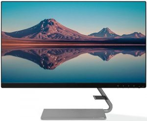Lenovo 60.4 cm (23.8-inch) FHD Ultra Slim Near Edgeless IPS Monitor with 75Hz, 4ms, HDMI, VGA, AMD FreeSync, Built in Speaker, with Metal Stand, LED Backlit, TUV Certified Eye Comfort - Q24i-10