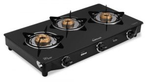 sunflame gt pride glass top 3 brass burner gas stove manual ignition black